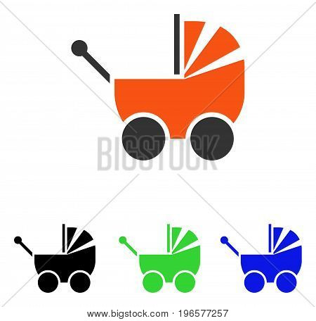 Pram vector pictograph. Illustration style is a flat iconic colored symbol with different color versions.