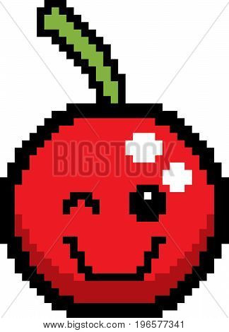 Winking 8-bit Cartoon Cherry