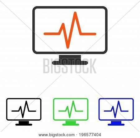 Pulse Monitoring vector pictogram. Illustration style is a flat iconic colored symbol with different color versions.
