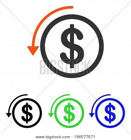 Refund vector icon. Illustration style is a flat iconic colored symbol with different color versions.