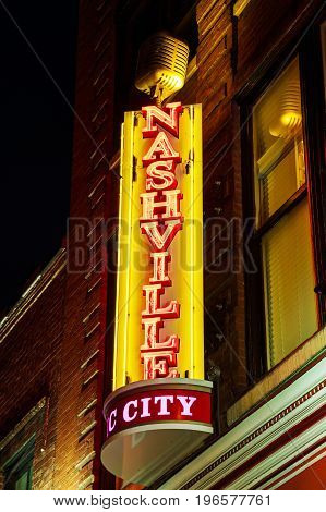 NASHVILLE - MAY 27: Nashville city neon sign at the Broadway street on May 027 2017 in Nashville TX.