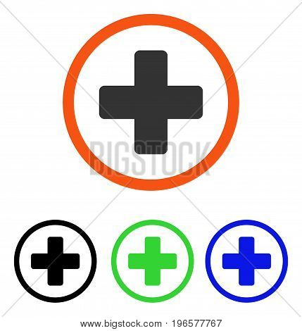 Rounded Plus vector pictograph. Illustration style is a flat iconic colored symbol with different color versions.