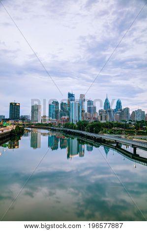Philadelphia cityscape at sunrise with the Delaware river