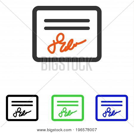 Signed Page vector icon. Illustration style is a flat iconic colored symbol with different color versions.