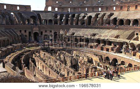 ROME ITALY - MAY 14, 2012 - The impressive Roman architecture of the Colosseum amphitheatre in Rome