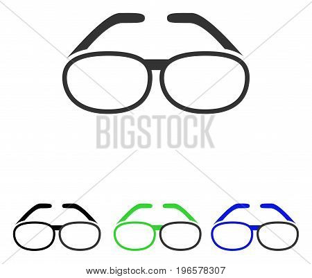 Spectacles vector pictograph. Illustration style is a flat iconic colored symbol with different color versions.