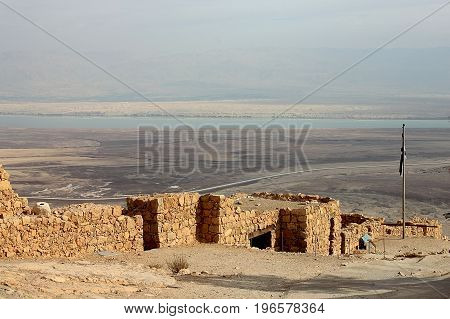 View of Masada fortress, Judaean Desert and Dead Sea. Israel