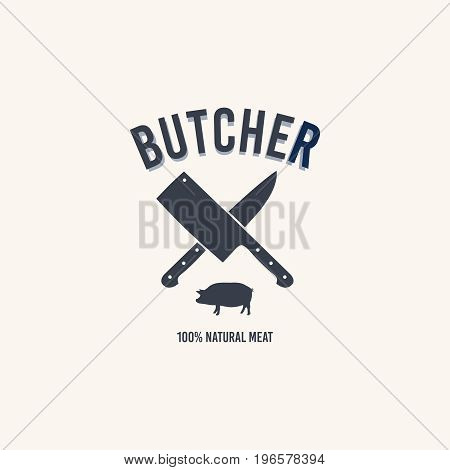 Butcher shop logo. Butchery label with sample text. Knives and a pig.