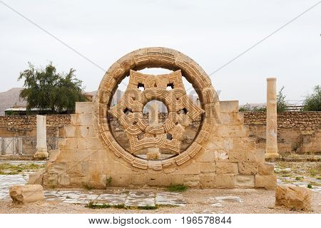 Hisham's Palace Stone Decoration In West Bank City Of Jericho, Old City In Palestine, Israel