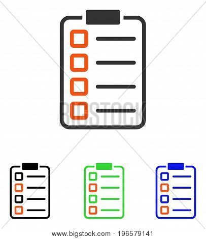 Test Form vector icon. Illustration style is a flat iconic colored symbol with different color versions.