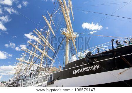 THE TALL SHIPS RACES KOTKA 2017. Kotka, Finland 16.07.2017. Barque Kruzenshtern in the port of Kotka Finland
