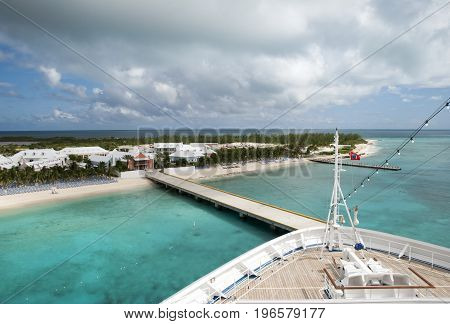 The cruise liner arrived to Grand Turk island (Turks and Caicos Islands).