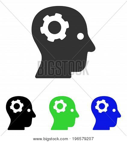 Thinking Gear vector pictogram. Illustration style is a flat iconic colored symbol with different color versions.
