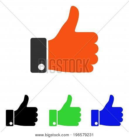Thumb Up vector pictogram. Illustration style is a flat iconic colored symbol with different color versions.