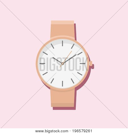 Modern women hand watch. Minimalist watches design isolated on pink background.
