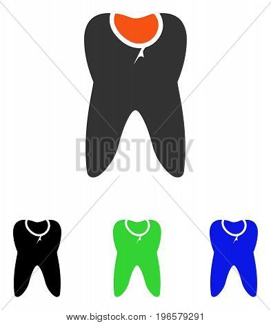 Tooth Caries vector pictograph. Illustration style is a flat iconic colored symbol with different color versions.
