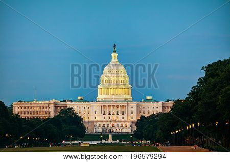 State Capitol building in Washington DC in the evening