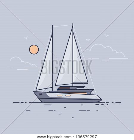 Luxury sailing yacht floating on the waves of sea in background evening sky. Side view. Flat style.
