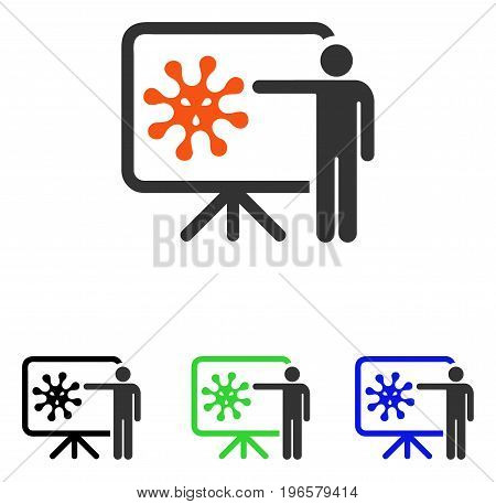 Virus Lecture vector icon. Illustration style is a flat iconic colored symbol with different color versions.