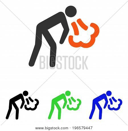 Vomiting vector pictogram. Illustration style is a flat iconic colored symbol with different color versions.
