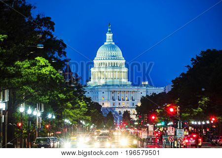 United States Capitol building in Washington DC at sunset