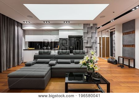 Black Table, Sofa And Kitchenette