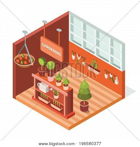 Vector isometric greenhouse for plants. Illustration growing flowers. Work in the garden in the summer and spring. Isometric tools for gardening watering can, secateurs, spray, flowerpot, trowel.
