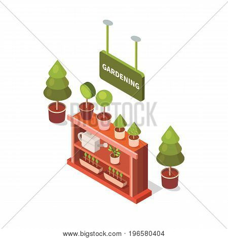 Vector isometric flower shop. Illustration growing plants. Work in the garden in the summer and spring. Isometric flowers in pot.