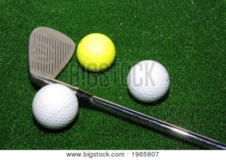 Golf Club, Balls And Divot Tool