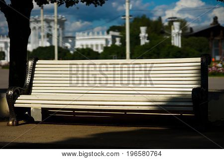 Horizontal bench in city park background hd