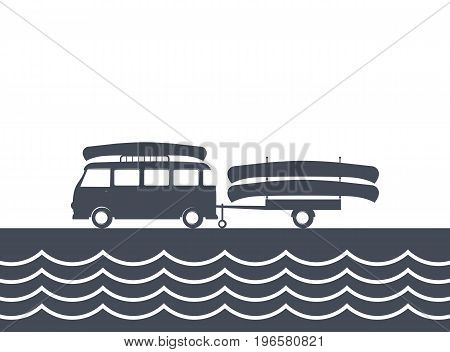 Monochrome camping bus with canoe and trailer