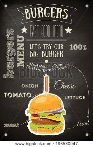 Burger House Menu Poster on Chalkboard. Vector Illustration.