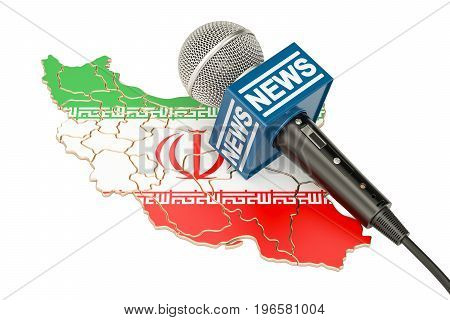 Iranian News concept microphone news on the map of Iran. 3D rendering