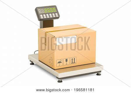 Warehouse scale with parcel 3D rendering isolated on white background