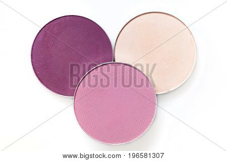 Beige and pink eye shadow  isolated on the white background