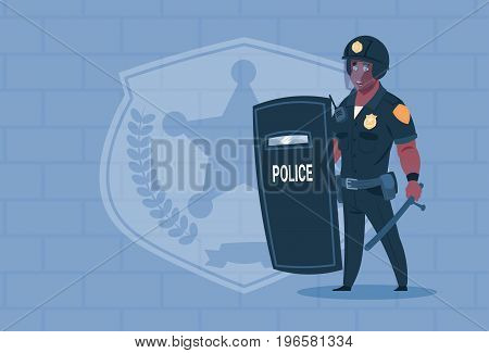 African American Policeman Hold Shield Wearing Helmet Uniform Cop Guard Over Brick Background Flat Vector Illustration