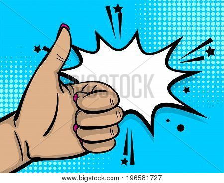 Pop art comic text cartoon cool woman hand show finger thumb up. Comic text speech bubble. Human girl wow ok, good poster halftone background. Gesture advertisement arm message. Vector illustration.