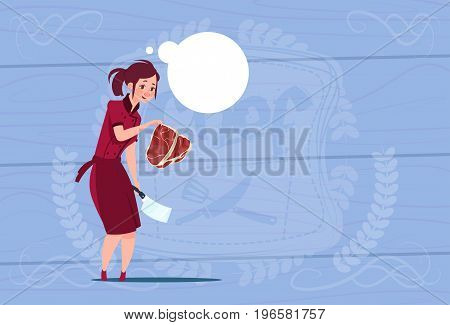 Female Chef Cook Holding Meat Cartoon Chief In Restaurant Uniform Over Wooden Textured Background Flat Vector Illustration