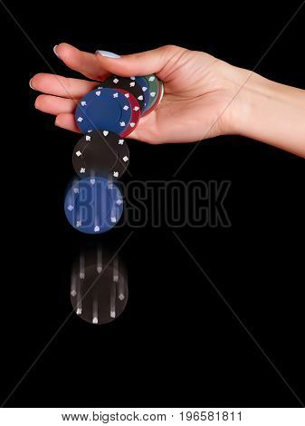 Woman hand dropping poker chips. Isolated on black clipping path included