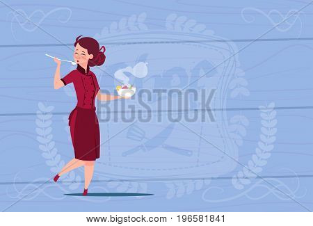 Female Chef Cook Tasting Soup Cartoon Chief In Restaurant Uniform Over Wooden Textured Background Flat Vector Illustration
