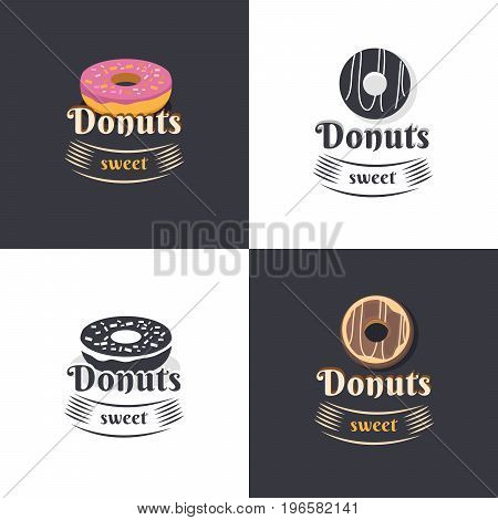 Collection of vintage logos donuts. Retro bakery labels and logotype. Vector illustration of a donut. Templates for business card, menu, banner, cover, coupon, packaging, package, bag, sticker