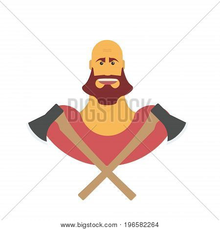 Lumberman bold man with beard. Strong cartoon with axe isolated