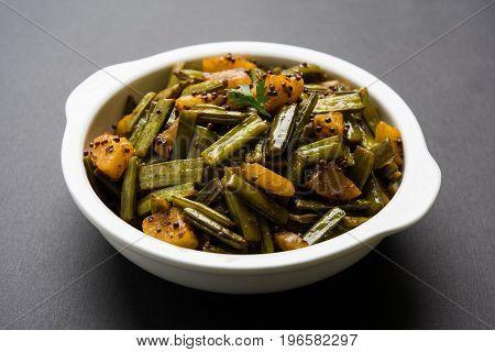 fried cluster bean curry or gawar or gowar ki sabji, selective focus