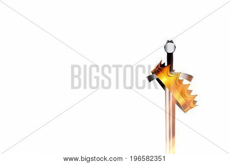 Sword and crown on white background with the effect of fire. Vector illustration