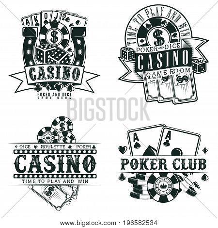Set of Vintage casino logo designs,  grange print stamps, creative poker typography emblems, Vector