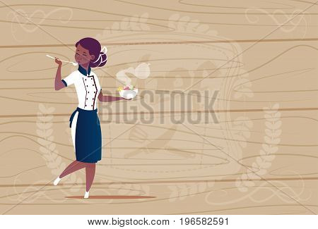 Female African American Chef Cook Tasting Soup Cartoon Chief In Restaurant Uniform Over Wooden Textured Background Flat Vector Illustration