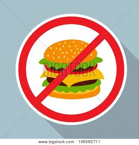 No hamburger allowed sign. Fast food danger label. Vector illustration for your cute design.