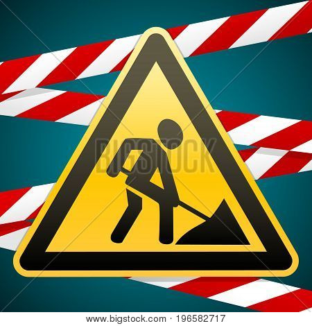 Sign repair works and barrier tapes. Vector illustration.
