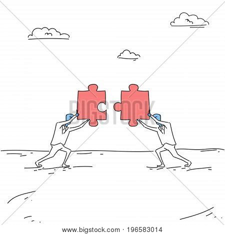Two Business Men Solving Puzzle Work Together Ponder Think Strategy Concept Vector Illustration