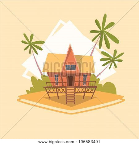 Bungalow House Icon Summer Sea Vacation Concept Summertime Holiday Vector Illustration